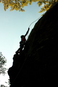 Rock climbing in Sulov mountains silhouette