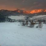 Zima zapad slnka Sulovske skaly