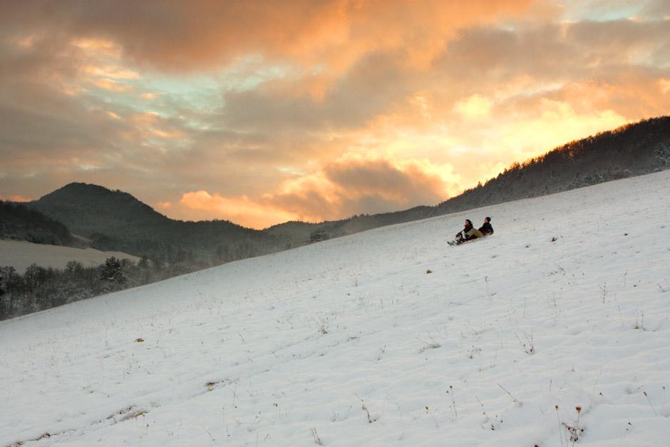 Zima zapad slnka Sulovske vrchy