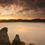 Vychod slnka Sulovsky hrad inverzia